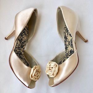 Champagne Satin Peep Toe Art Deco Bridal Heels